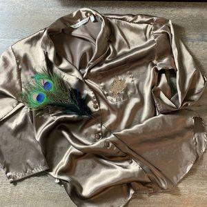 VICTORIA'S SECRET Satin Gold Button Sleep Shirt